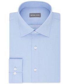 Michael Kors Men's Regular Fit Airsoft Stretch Non-Iron Performance Solid Dress Shirt - Blue 16.5 34/35