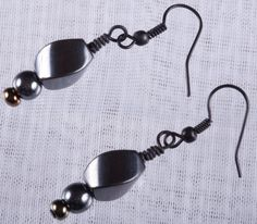 Contemporary Hematite Earrings by afinepastiche on Etsy, $15.00