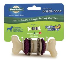 The durable nylon bristles and rubber nubs on the Busy Buddy Bristle Bone provide dogs with a stimulating chewing surface. Treat ring refills reward good chewing behavior to encourage longer playtime.