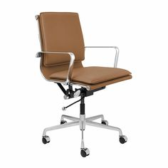 Lexi Soft Pad Office Chair (Tan) Minimalist Office, Swivel Office Chair, White Cushions, Pad, Mid Century Design, Side Chairs, Desk Chairs, Office Chairs, Furniture