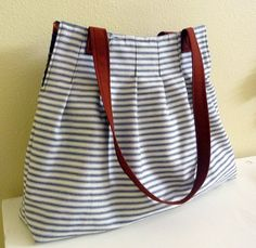 Pleated Tote Bag in Black and White Ticking - cute
