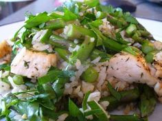 Lemon Asparagus Chicken  ღ FRIEND or FOLLOW ME! I am always posting awesome stuff on my timeline!       Ingredients:   12 cup uncooked rice   1 14 cups low sodium chicken broth   12 cup water   1 cup fresh asparagus cut in 2 inch pieces   1 boneless skinless chicken breast cut in bite size pieces   1 tablespoon lemon juice   2 teaspoons olive oil   1 12 teaspoons dried dill weed   12 teaspoon salt   1/8 tsp. pepper   1 tablespoon parsley finely chopped  Procedure:   Cook the rice in chicken…