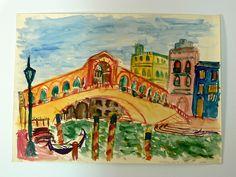Aquarell  Venedig Ponte Di Rialto Venice Italy $12.00