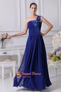 Royal Blue One Shoulder Prom Dress, One Shoulder Chiffon Evening Dress  $152