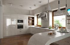 o bucatarie diafana, in care finisajele lucioase si formele fluide creeaza un ambient eteric, ireal. Kitchen Island, Kitchen Cabinets, Home Kitchens, Bar, Interior, Modern, House, Furniture, Design