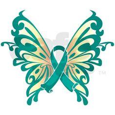 Ovarian Cancer Emblems | Ovarian Cancer Butterfly Shirt by mattmckendrick