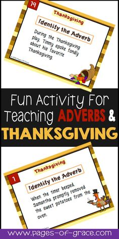 Are you looking for some fun activities to incorporate learning and holidays? Task cards are a great way to meet the standards while enjoying the holidays. Check out this set of Thanksgiving task cards for adverbs. Students get moving and master grammar, all while having some Thanksgiving fun.
