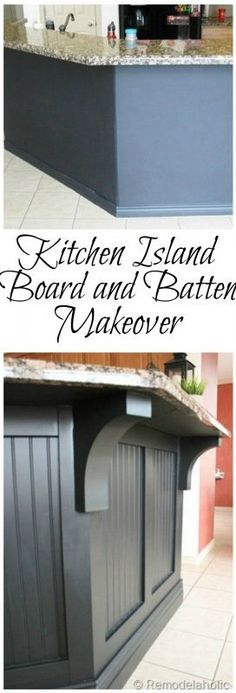 Board-and-batten siding and chunky corbels transform this bland kitchen island into a statement piece. Find the how-to here at Remodelaholic.com