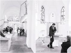 Kirchliche Trauung, schwarzer Anzug, schwarze Fliege, Brautkleid, Blumenkranz, Eventkapelle in Köln, Braut, Bräutigam, Foto: Violeta Pelivan