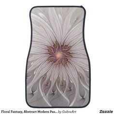 Floral Fantasy, Abstract Modern Pastel Flower Car Floor Mat