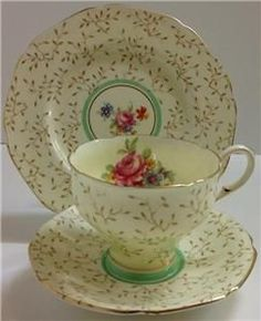 Paragon Art Deco Vintage English China Tea Set Trio