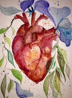 Herz - Original - Kunst - Aquarell - fine art von abstrakte bilder und mehr von maria-mercedes auf DaWanda.com