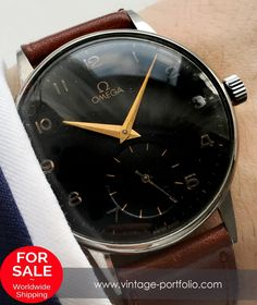 Omega 37mm Oversize Jumbo Watch with black dial #omegawatches #omegavintage #vintageos #militarywatches