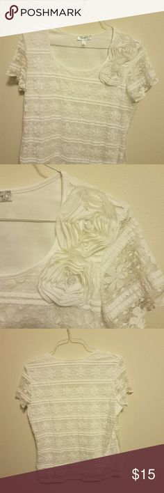 Romantic Lacey Top from Dress Barn Very romantic lined lacey top with lacey accent flowers. Dress Barn Tops Tees - Short Sleeve