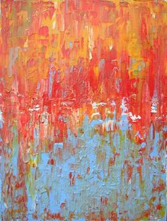 Original abstract painting acrylic on canvas 41cm x 30cm by Paul Lewis - red/orange/sky blue/white