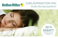 Im wunderschönen Monat Mai geben wir Ihnen Rabatt von 20% auf die Reinigungspreise für alles Waschbare.  Bringen Sie Ihre Sommerbettwaren in unser Betten Ritter Haupthaus in Karlsruhe. Unsere Fachberater legen mit Ihnen fest, wie Ihre Bettwaren - in Abhängigkeit von Verarbeitung und Verschmutzungsgrad - individuell gewaschen werden.  Mehr Infos:  https://www.bettenritter.com/fachgeschaeft/ueber-betten-ritter/news-presse/jubilaeumsaktion-mai-20-sparen-auf-reinigungspreise-fuer-alles-waschbare