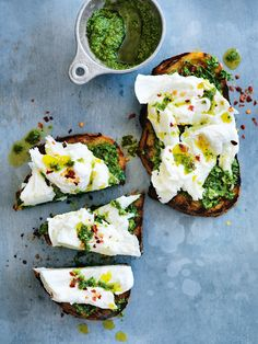 Try this for a flavour combination… pesto, mozzarella and white anchovy. These tasty bites make an excellent starter and will make you rethink the classic bruschetta. Link in bio.