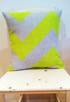 Neon Yellow Fat Chevron - Cover only - Wildly comfortably throw cushion in neon yellow, for your home.