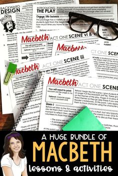 This mega Macbeth bundle offers a variety of activities that you can choose from when teaching the play. There is a traditional unit of lessons and activities, as well as an inquiry one that helps students make real world connections. The other items offer you choices that you can use to supplement your unit and to engage your students. #macbeth #highschoolenglish #macbethlessons #teachingmacbeth Middle School Ela, Middle School English, Physical Activities, Learning Activities, Secondary Teacher, English Activities, English Lessons, High School Students, Choices