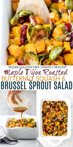 Roasted Butternut Squash Brussel Sprout Salad finished with a maple dijon glaze, pecans and cranberries. Butternut squash and brussel sprouts that are roasted in the oven and tossed with a sweet savory maple dijon glaze! Sprouts Salad, Brussel Sprout Salad, Brussels Sprouts, Thanksgiving Brussel Sprouts, Healthy Thanksgiving Recipes, Thanksgiving Sides, Holiday Recipes, Squash Salad, Sprout Recipes