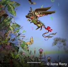 little cute dragon flowers nature illustration, children illustration, children book
