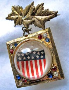 American Flag Patriotic Brooch, WWII Brass Locket, Lucite Domes, Two Sided Twin Flag Images, Campaign Election, Candidates Brooch by GemParlor on Etsy