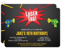 Free printable laser tag invitations template birthday pinterest laser tag birthday invitation love the shooting lasers on the back side lasertag filmwisefo Images