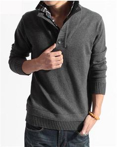 Fashion Cotton Blends Jointing Pullover Stand Collar Long Sleeve Slim Winter Warm Men Sweater
