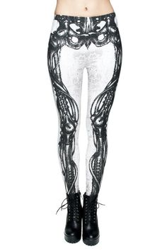 """These stretch leggings sport askeletonscreen print in white on black. Striking and Unique in a Poly/Spandex stretch knit. One Size Fits:  Sizes 0 - 6/8 Height Up to5'9"""""""