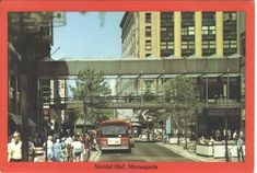 Nicollet Mall, Downtown Minneapolis, Minnesota VINTAGE 1970s Postcard! We used to call the buses big red.