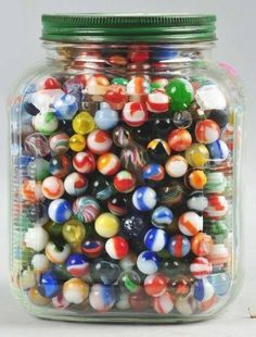 Jar contains vintage marbles including handmades, swirls, onionskin, Akro, peltier and marble king. My Childhood Memories, Childhood Toys, Sweet Memories, Vintage Games, Vintage Toys, Glass Marbles, Good Ole, Retro Toys, Antique Toys