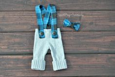 Newborn Photography Set   Fall Upcycled Gray Pants with Blue & Black Flannel  by ToodleBugCreations, $26.50