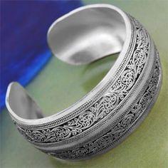 [$4.24] Tibetan Silver Lucky Totem Open Bangle Bracelet 1.14