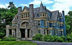Image detail for -Victorian Mansion House - Architecture, Blue, Bushes, Clouds, Colours . Victorian Architecture, Beautiful Architecture, Beautiful Buildings, Beautiful Homes, House Architecture, Style At Home, Home Tumblr, Old Mansions, Abandoned Mansions