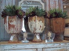 Oversized succulents in oversized  antique urns   Mary Cates and Co. | Dallas, Texas