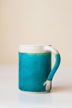Hand Thrown Pottery Mug Turquoise in stock. Tea cup. Coffee cup. by XimenaHeasmanCeramic on Etsy https://www.etsy.com/listing/257413598/hand-thrown-pottery-mug-turquoise-in