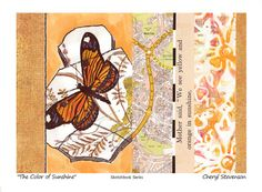 Sketchbook Series: broken shards of a beautiful butterfly and collage (hand-printed and found papers)