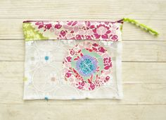 Zipper pouch make up cosmetic bag pencils case wallet nylon tulle transparent white applique flowers bohemian purple pink green lilac gift by poppyshome on Etsy