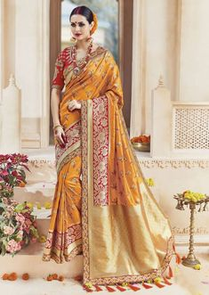 Online saree shopping from an exclusive collection of designer sarees. Buy this art silk embroidered, patch border and zari work traditional designer saree for bridal and wedding. Indian Silk Sarees, Art Silk Sarees, Silk Sarees Online, Wedding Sarees Online, Saree Wedding, Bridal Sarees, Wedding Bride, Bandhani Saree, Lehenga Choli