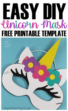 Check out this post for FREE printable Unicorn Face Mask templates Comes with two cutout templates AND coloring sheets for kids of all ages Halloween Masks Kids, Printable Halloween Masks, Printable Masks, Unicorn Printables, Printable Templates, Costume Halloween, Free Printables, Coloring Sheets For Kids, Coloring Pages