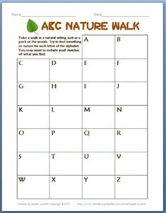 ABC Nature Walk - Perfect for Earth Day!