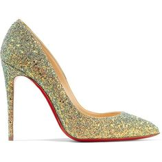 Christian Louboutin Pigalle Follies Dragonfly 100 glittered leather... ($645) ❤ liked on Polyvore featuring shoes, pumps, christian louboutin pumps, pointed toe high heel pumps, leather shoes, high heeled footwear and leather pumps