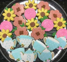 Tea Party decorated sugar cookies by I Am the Cookie Lady