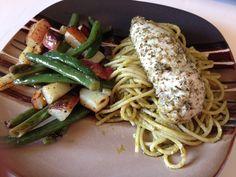 pesto pasta with garlic parmesan chicken and sautéed veggies :)