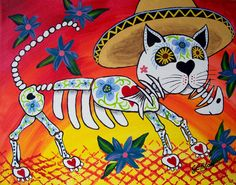 day of the dead cat images | Print Folk Art Mexican Day of The Dead Cat Kitty Skeleton Painting ...