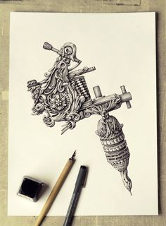 Latvian artist and illustrator Alex Konahin uses dip pens with India ink to create wonderfully intricate and ornate drawings. Graffiti Tattoo, Tattoo Sketches, Tattoo Drawings, Drawing Sketches, Tattoo Studio, Dibujos Tattoo, Tattoo Equipment, Tattoo Stencils, Ink Illustrations