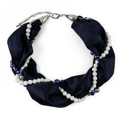 Šála s bižuterií Eleonora 299el001-36a - tmavě modrá - Bijoux Me! - bižuterie, šály a šátky Jewelery