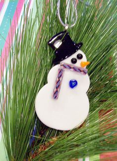 Snowman with a Heart  Fused Glass Christmas by FusingFrenzy, $13.50