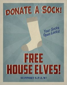 "SPEW Free House Elves Propaganda Poster in Blue 11"" x 14"" / Wall Art / Vintage Art / Harry Potter. $15.00, via Etsy."