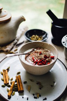chai teff porridge with coconut milk | naturally vegan and gluten free recipe via willfrolicforfood.com